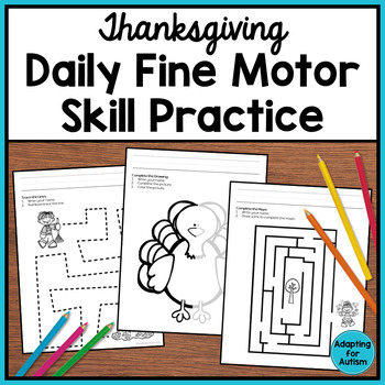 Thanksgiving Fine Motor Worksheets for Special Education and Autism