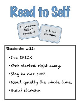 Daily Five Anchor Chart/I Chart Packet