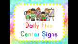Daily Five Center Signs Pastel