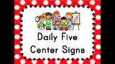 Daily Five Center Signs Red Polka Dot