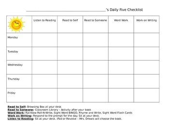 Daily Five Checklist