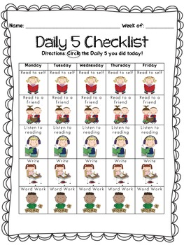 Daily Five Checklist for Students