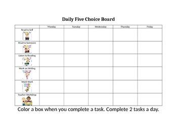 Daily Five Choice Board