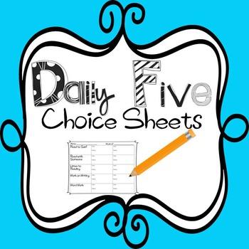 Daily Five Choice Sheet