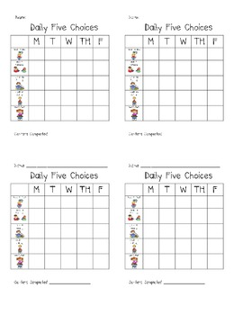 Daily Five Choices Chart