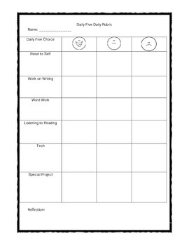 Daily Five Daily Rubric