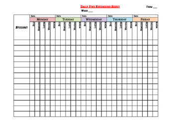 Daily Five EDITABLE Recording Sheet