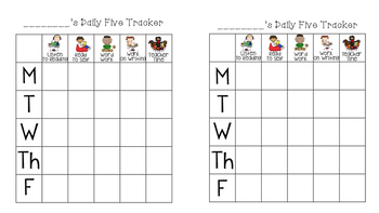 Daily Five Individualized Trackers