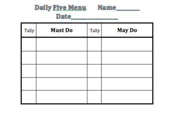 Daily Five Menu