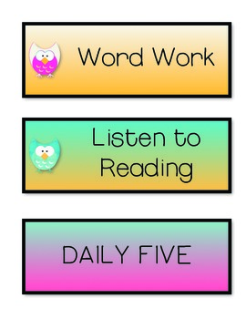 Daily Five Owl Cards and Banner FREEBIE