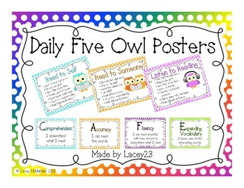 Daily Five Poster & Card Set * Owl Themed
