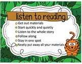 Daily Five Poster Set / Safari Jungle Animal / Elementary Classroom Decorations