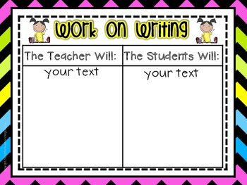 Daily Five Posters and Editable Anchor Charts *Bright Chevron on Black*