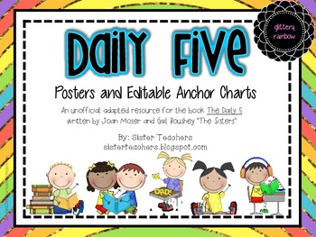 Daily Five Posters and Editable Anchor Charts *Glittery Rainbow*