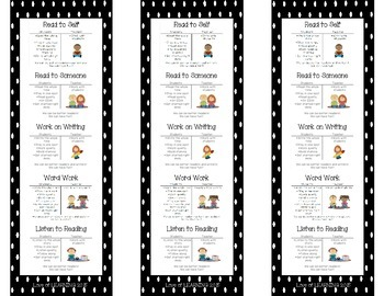 Daily Five Reading Bookmarks Black