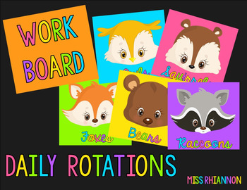 Daily Five Reading Rotation Cards (Woodland Animals Neon) (Editable)