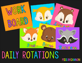Daily Five Reading Rotation Cards (Woodland Animals Neon)