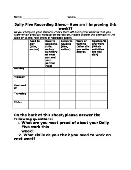 Daily Five Recording Sheet