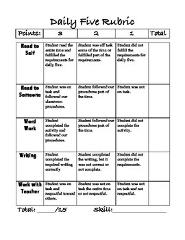Daily Five Rubric