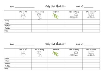 Daily Five Student Checklist