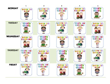 Daily Five Student Schedule Sheets