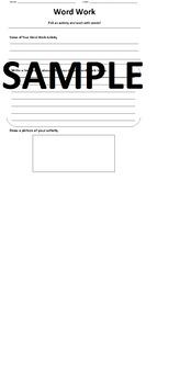 Daily Five Word Work Accountability Sheet