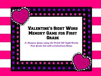 First Grade Valentines Sight Word Memory