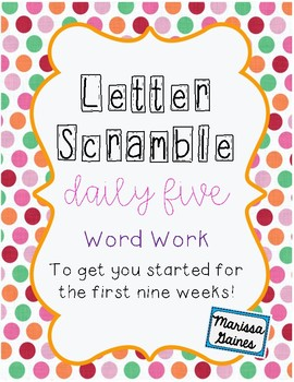 Daily Five Word Work First Nine Weeks