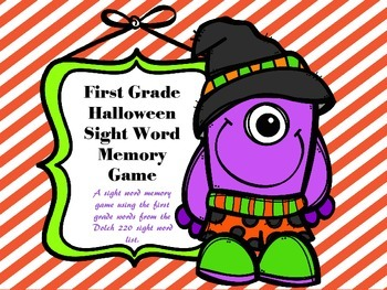 Halloween Memory First Grade Sight Words