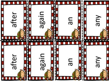 Christmas/Holiday Memory First Grade Sight Words