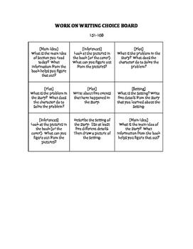 Daily Five Work On Writing Choice Board FICTION--NWEA MAP