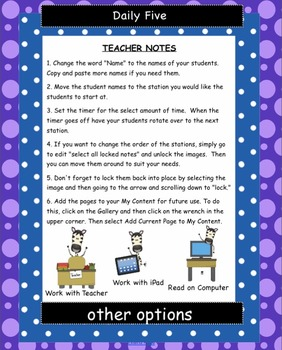 Daily Five Zebra Themed Assignments Interactive Smartboard