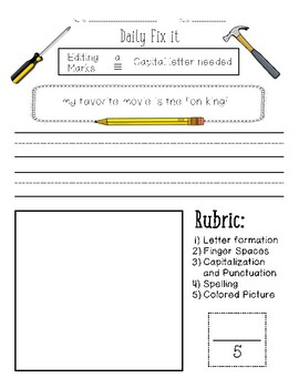 Daily Fix It - Capitalization (With Editing Marks)