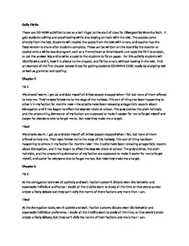 Daily Fix It Grammar, Spelling, Quote Analysis for Divergent by Roth