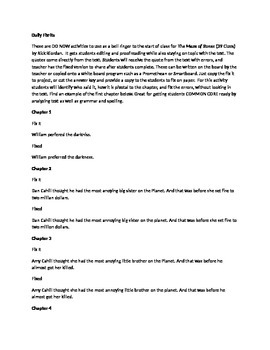 Daily Fix It Grammar, Spelling, Quote Analysis for The Maze of Bones Riordan