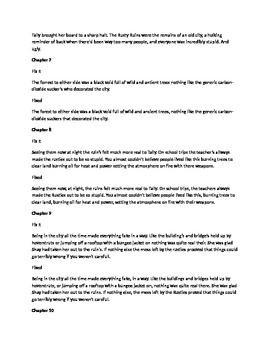 Daily Fix It Grammar, Spelling, Quote Analysis for Uglies by Westerfeld