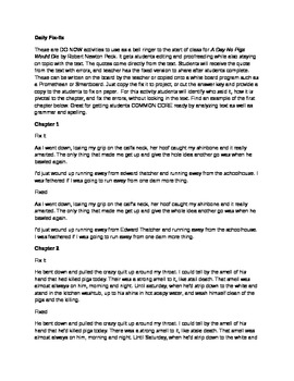Daily Fix It Grammar, Spelling and Quote Analysis for A Da