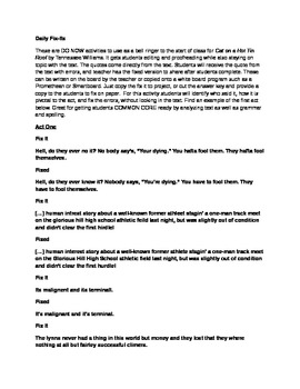Daily Fix It Grammar, Spelling and Quote Analysis for Cat