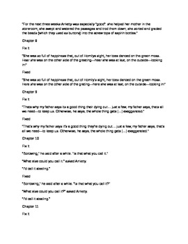 Daily Fix It Grammar, Spelling and Quote Analysis for The Borrowers by Norton