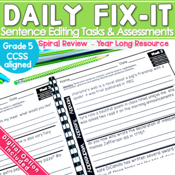 Daily Fix It Sentence Editing Year Long Common Core
