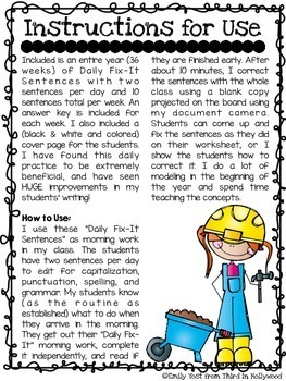Daily Fix-It Sentences (Year-Long Editing Practice)