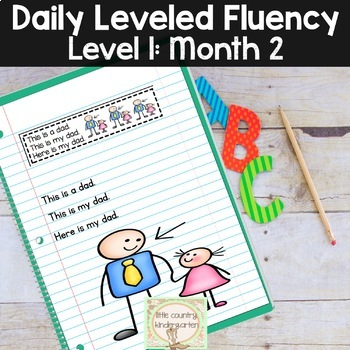 Daily Fluency Passages & Interactive Notebook Strips Level 1 Month 2