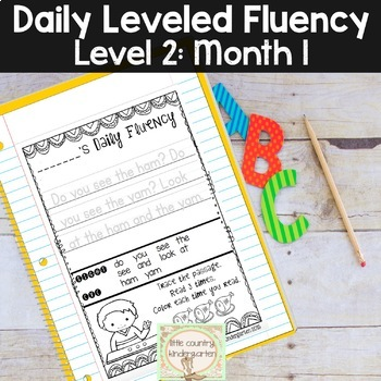 Reading Fluency Passages & Interactive Notebook Strips Level 2 Month 1