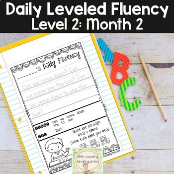 Daily Fluency Passages & Interactive Notebook Strips Level 2 Month 2