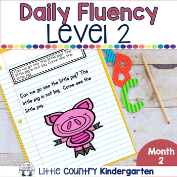 Reading Fluency Passages & Interactive Notebook Strips Level 2 Month 2