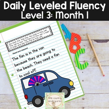 Reading Fluency Passages & Interactive Notebook Strips Level 3 Month 1