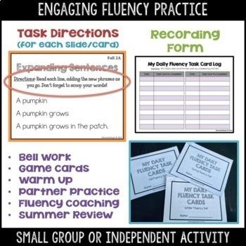 Daily Fluency Task Cards -- Fall FREEBIE