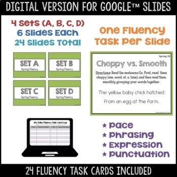 Daily Fluency Task Cards -- Spring FREEBIE