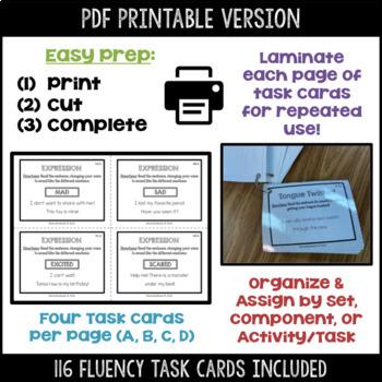 Daily Fluency Task Cards (Upper Level 2)