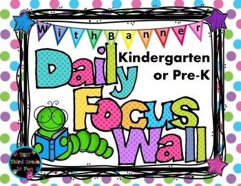 Daily Focus Headers/Banners for Kindergarten or Pre-K Pastel Polka Dots